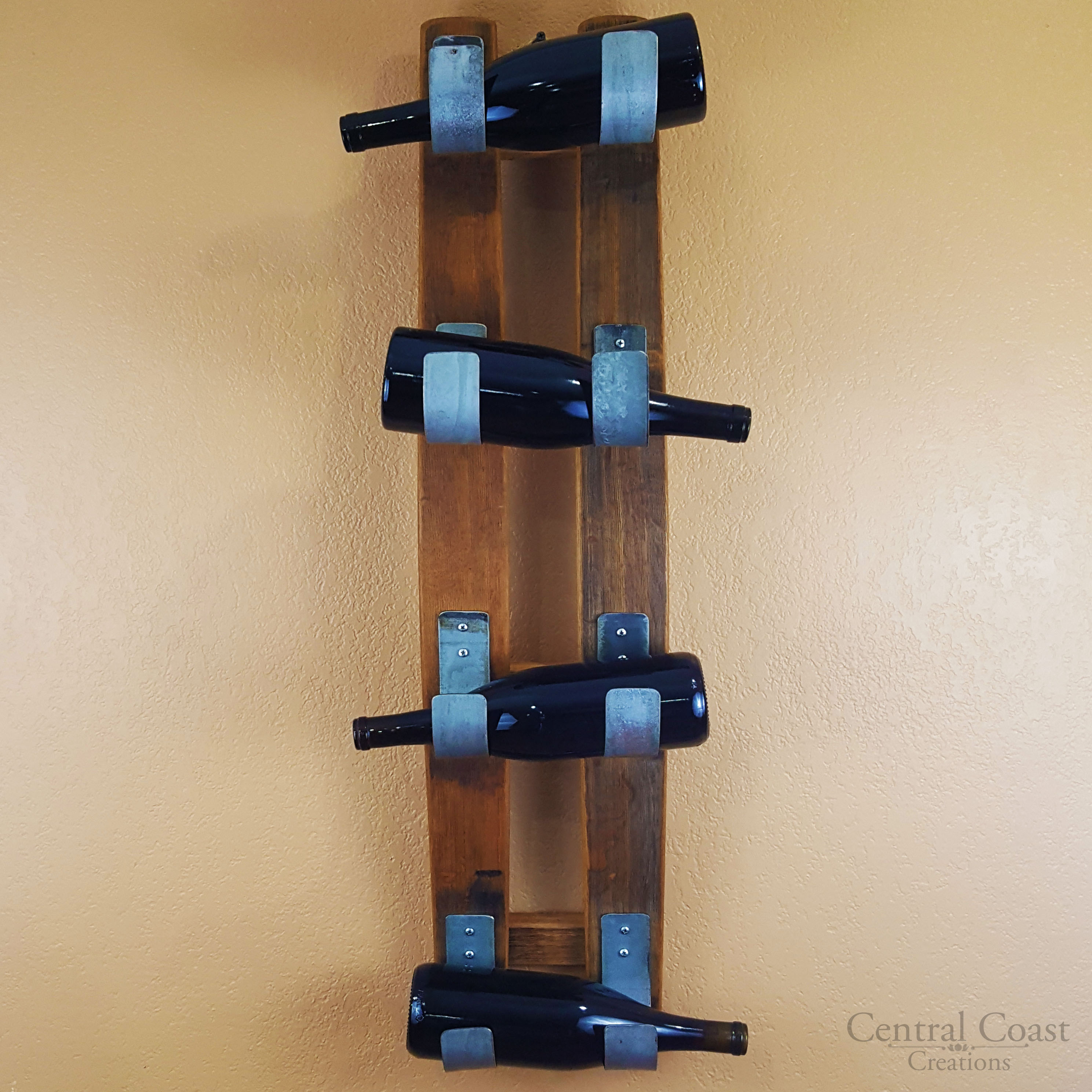 Details About Decorative Wine Barrel Stave 4 Bottle Wall Rack Rustic Furniture Home Decor Bar