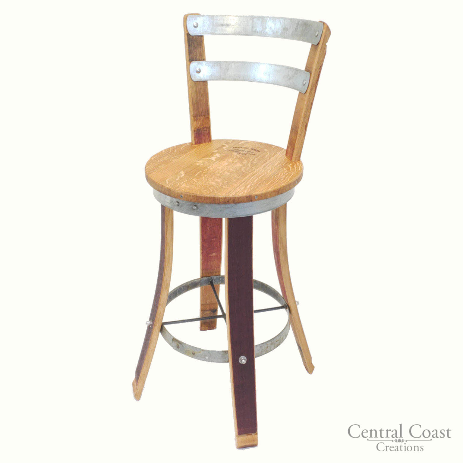 Wine Barrel High Pub Set Rustic Swivel Stools Furniture