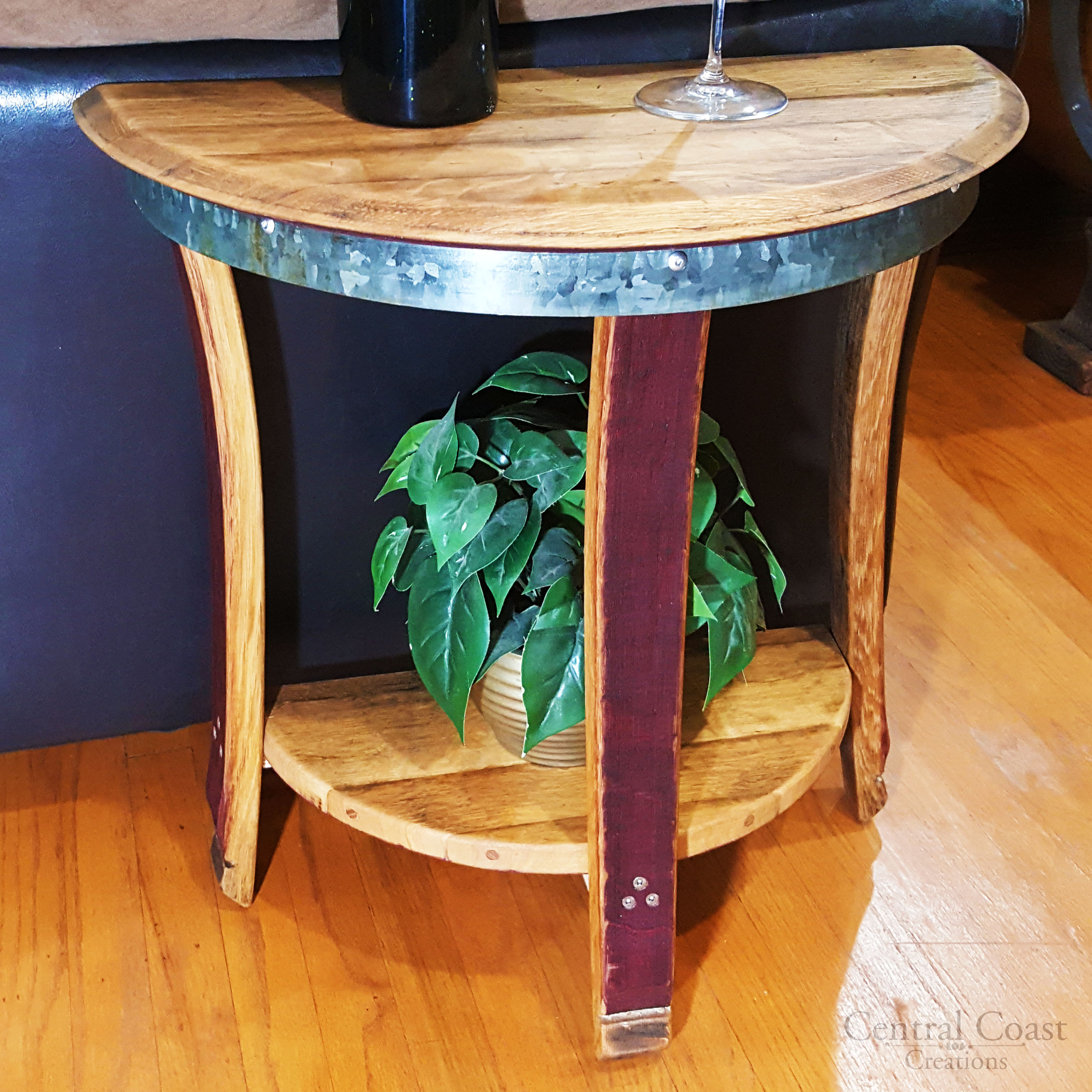 small half moon side table central coast creations. Black Bedroom Furniture Sets. Home Design Ideas