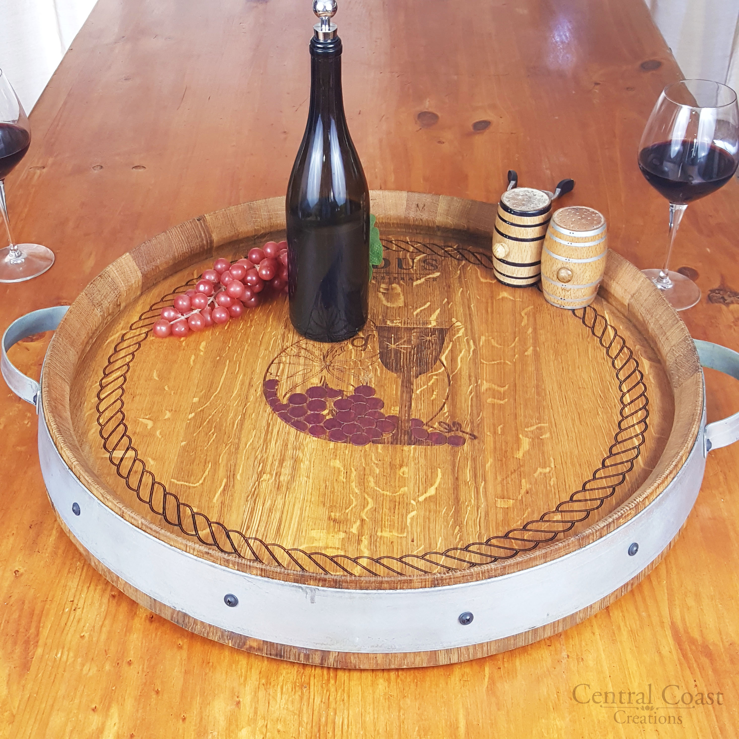 Lazy Susan Barrel Top W Wine Glass Engraving Central Coast Creations