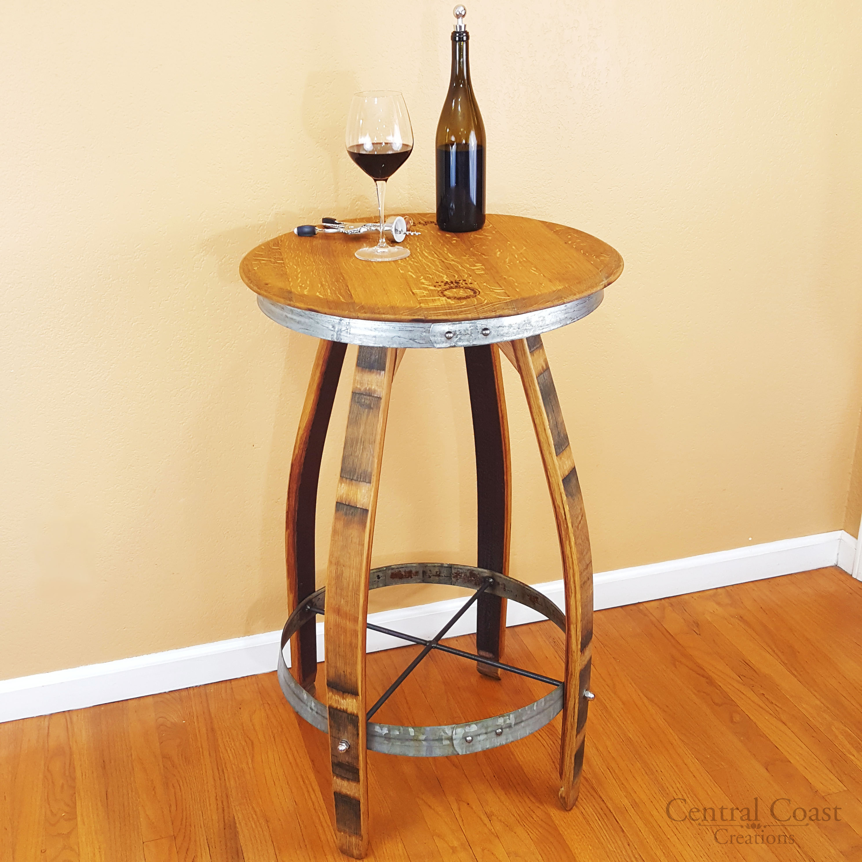 Wine Barrel Pub Set Rustic Swivel Top Stools Furniture Bar