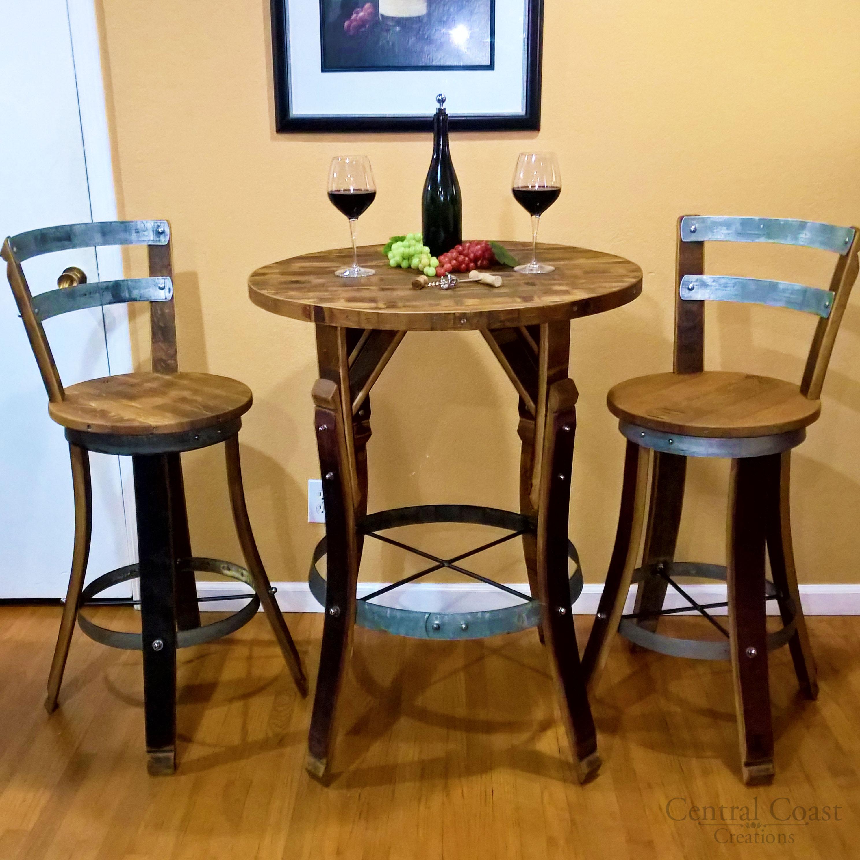 Wine Barrel Stave Bistro Set Rustic Furniture Bar Pub Napa Free