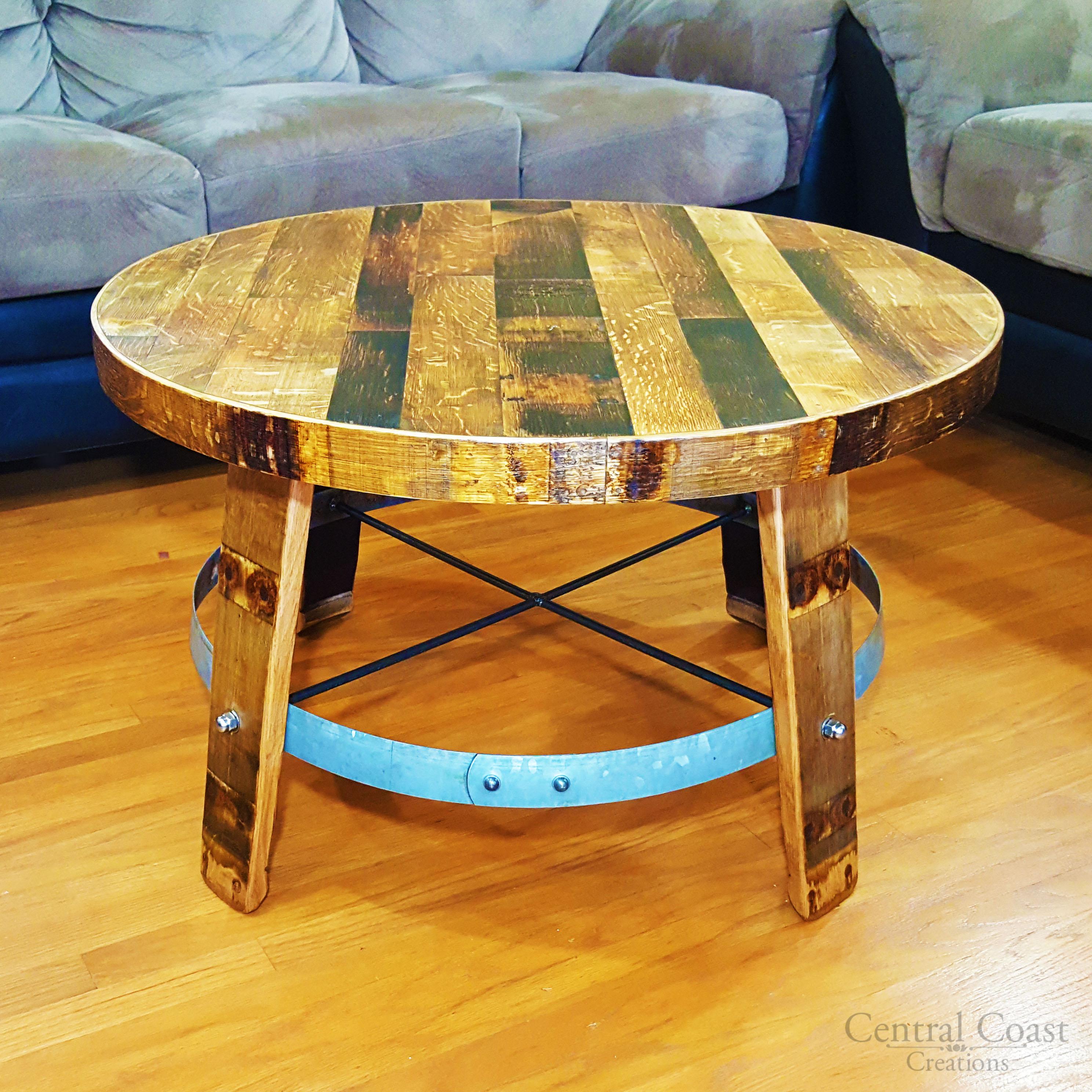 Wine barrel head center coffee table home rustic furniture for Center coffee table furniture