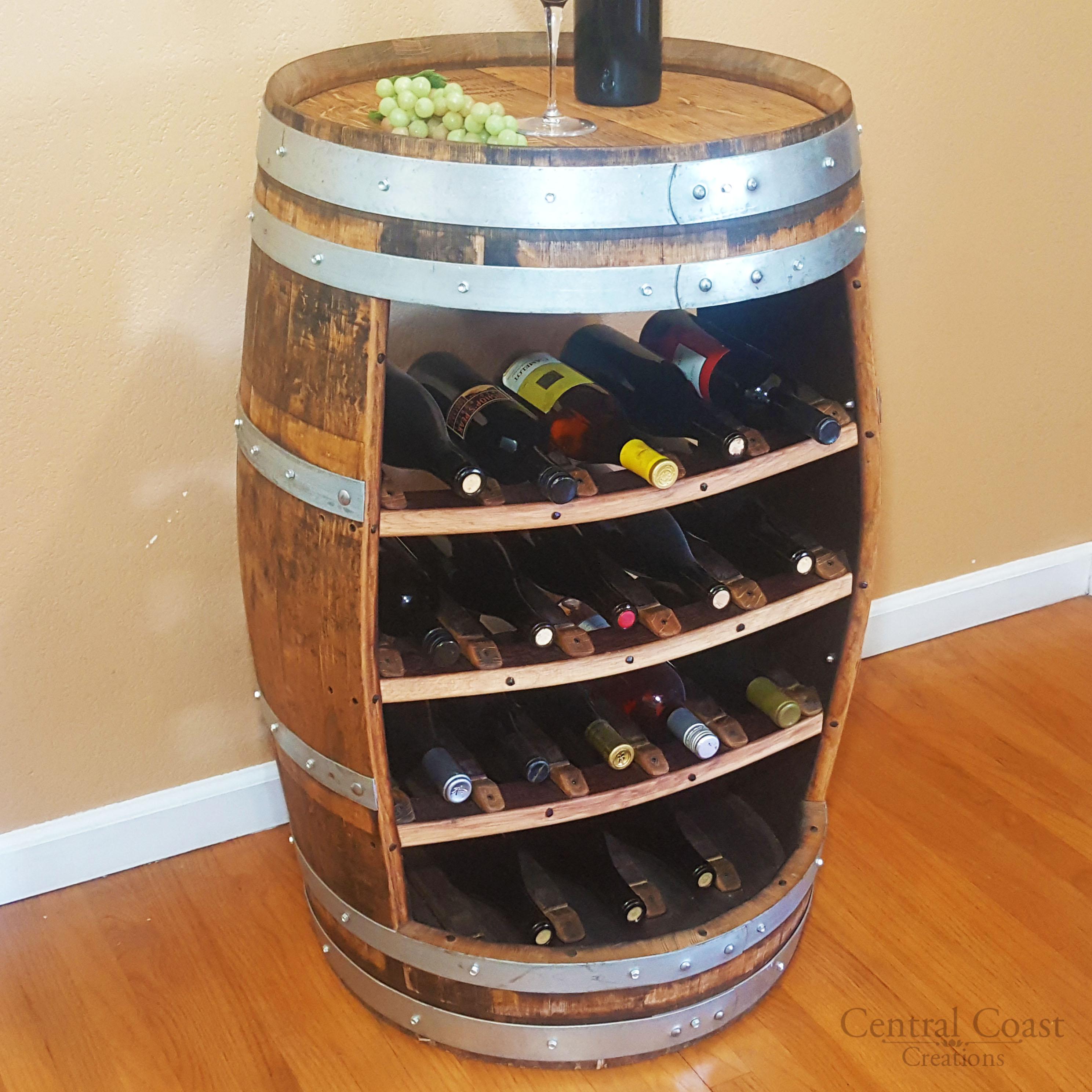 wine barrel 18 bottle wine rack free shipping central