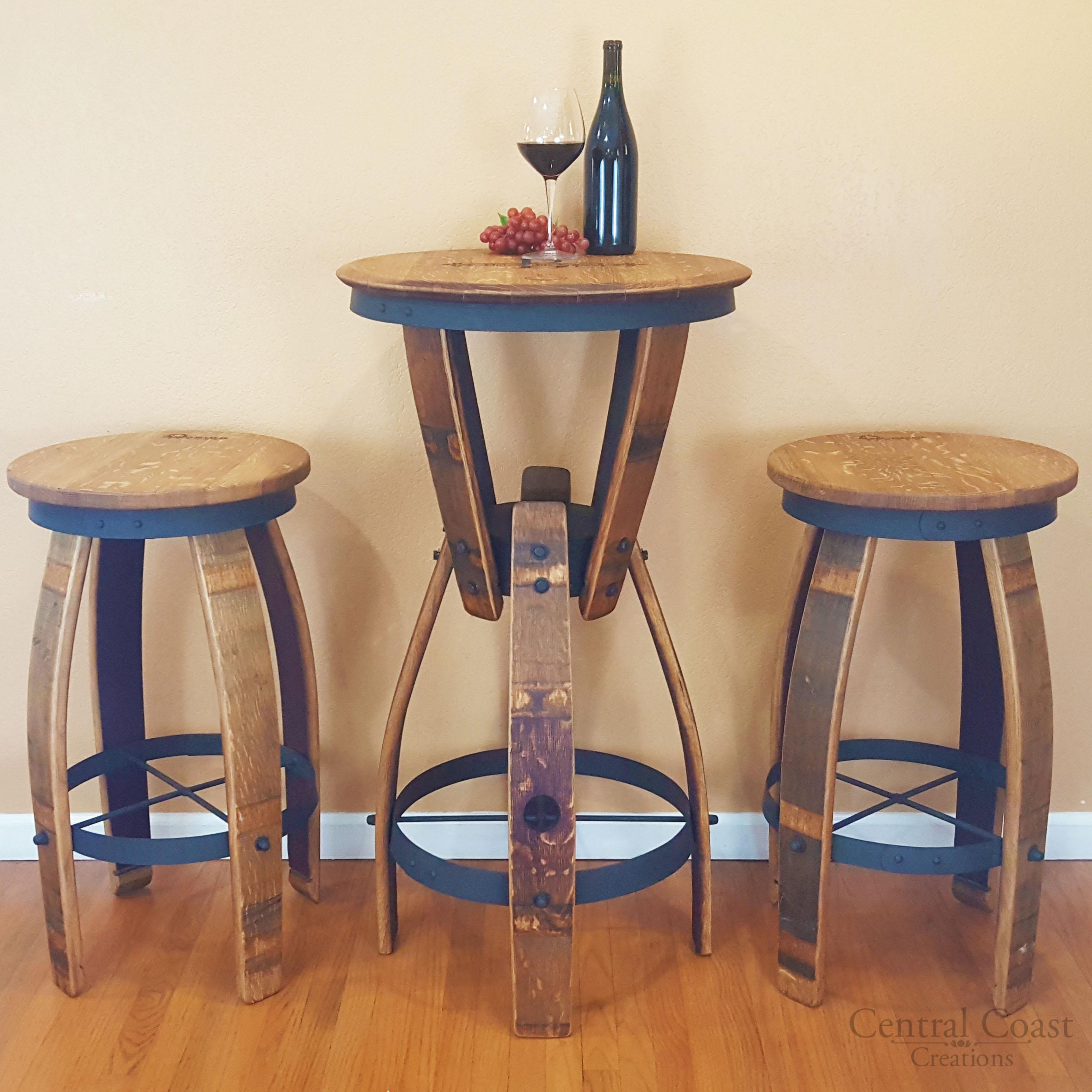 Wine Barrel Furniture Hourglass Pub Table Set Swivel Top Stools Free