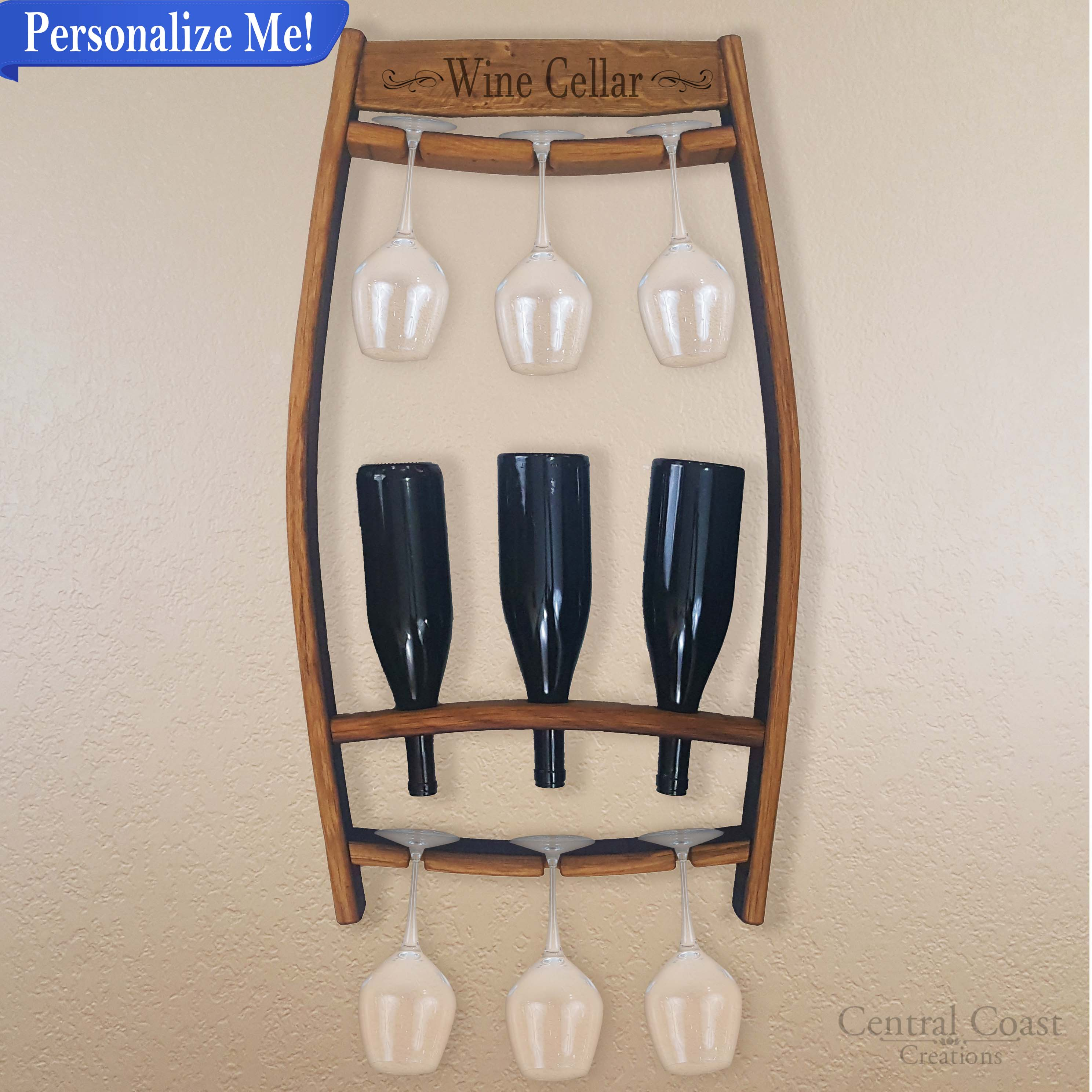 bottle wine wood rack mount wall mounted reclaimed stemware racks holders