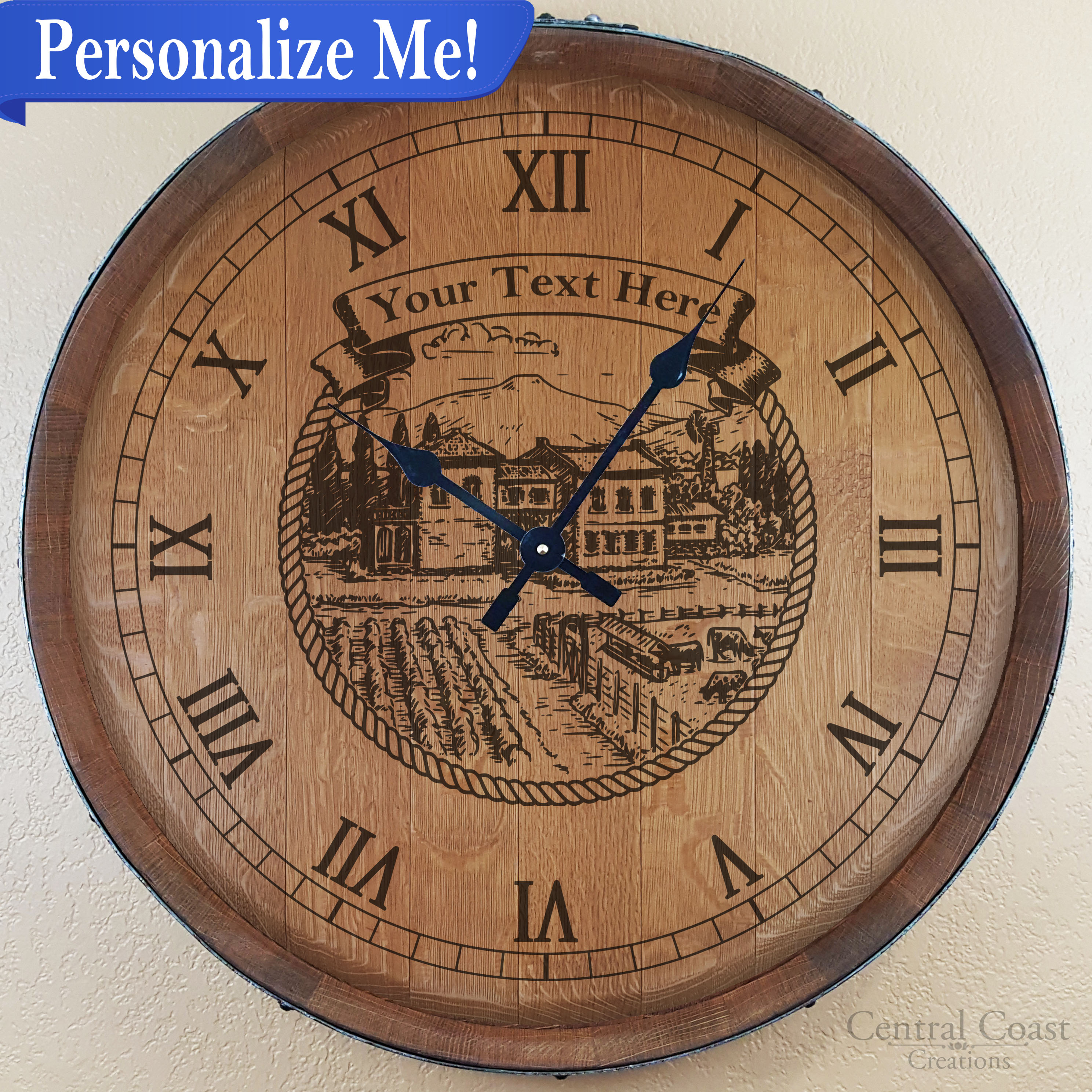 Personalized Engraved Wine Barrel Head Clock Rustic Furniture