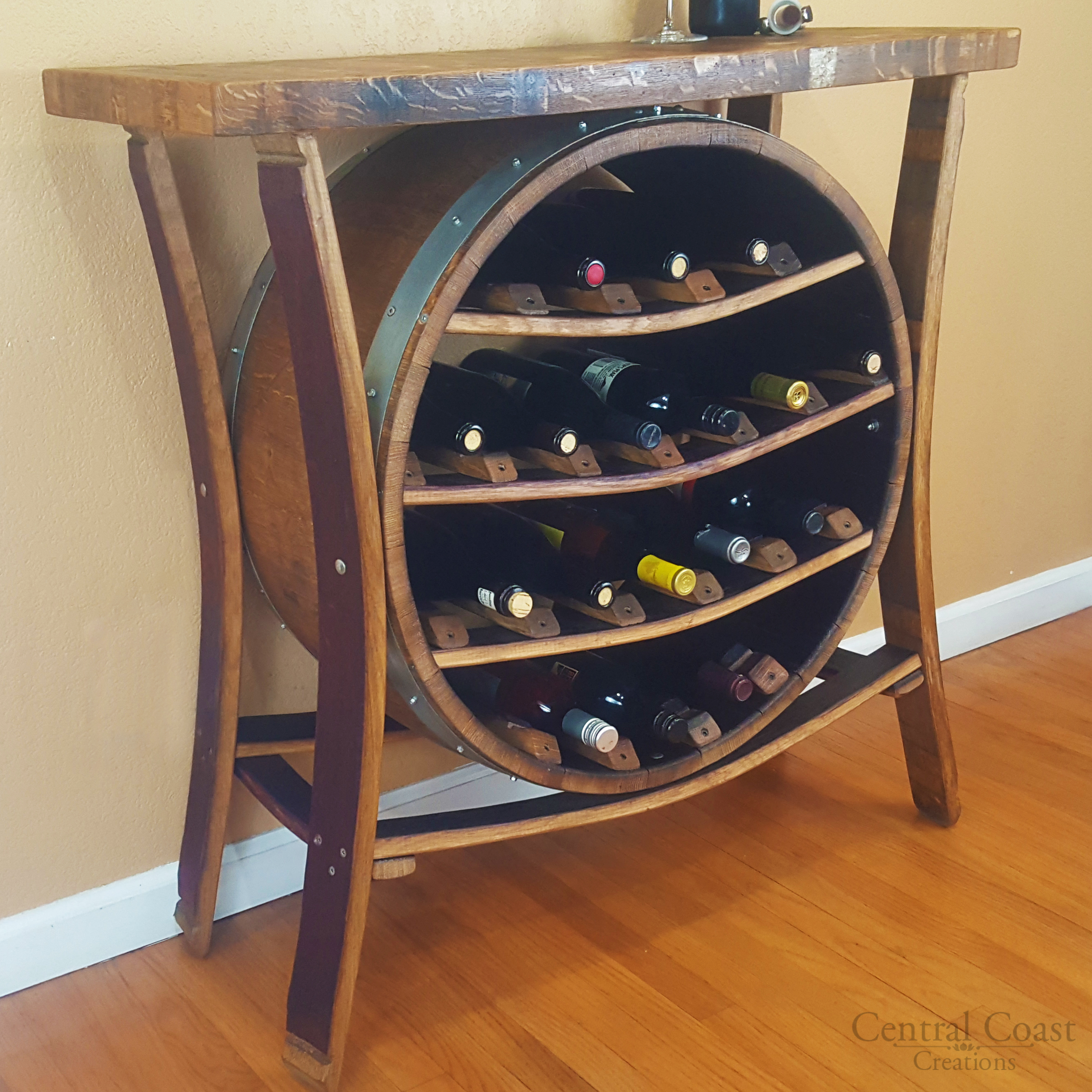 metal barrel bottle pin with rack wine cabinet