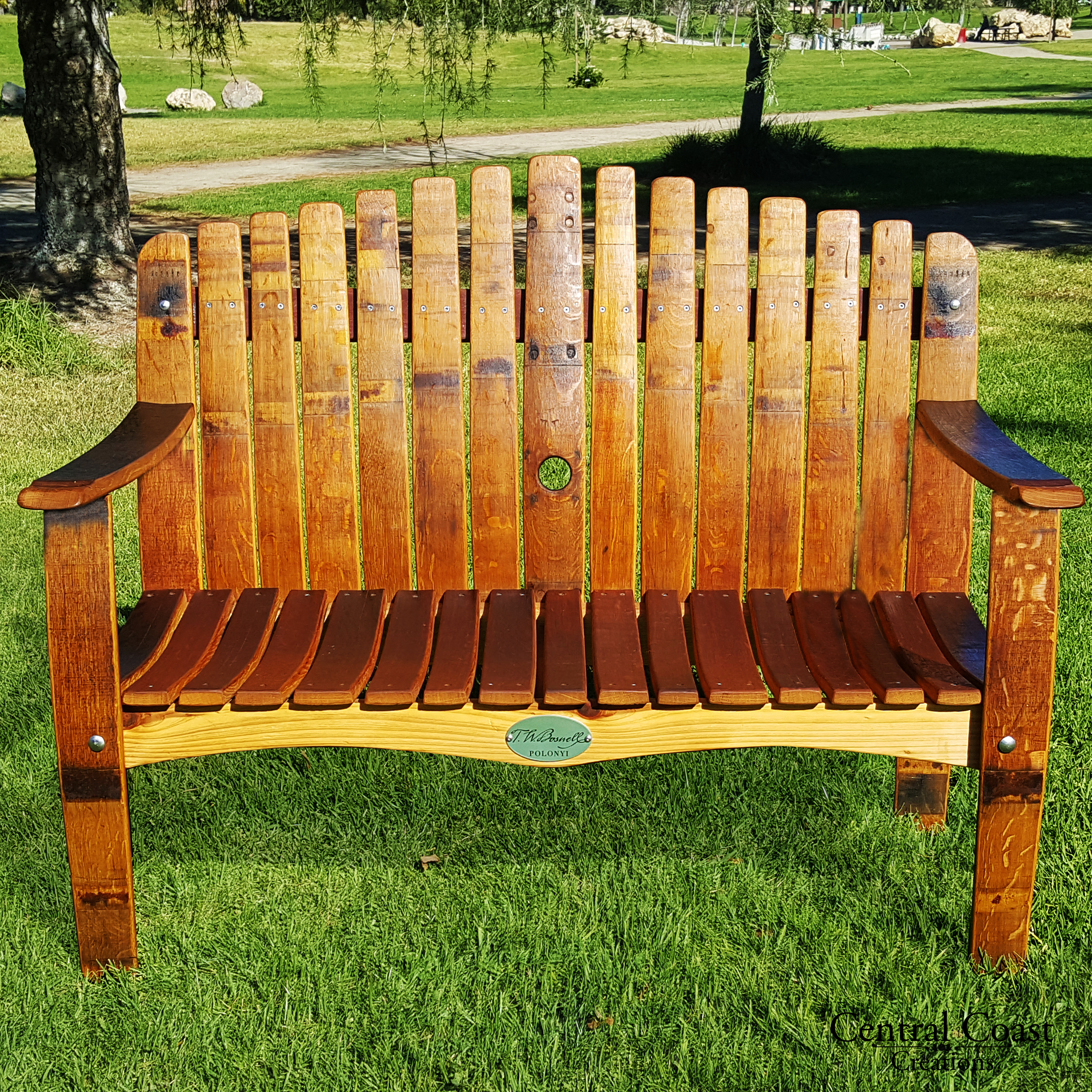 Wine Barrel Stave Large Garden Bench Free Shipping