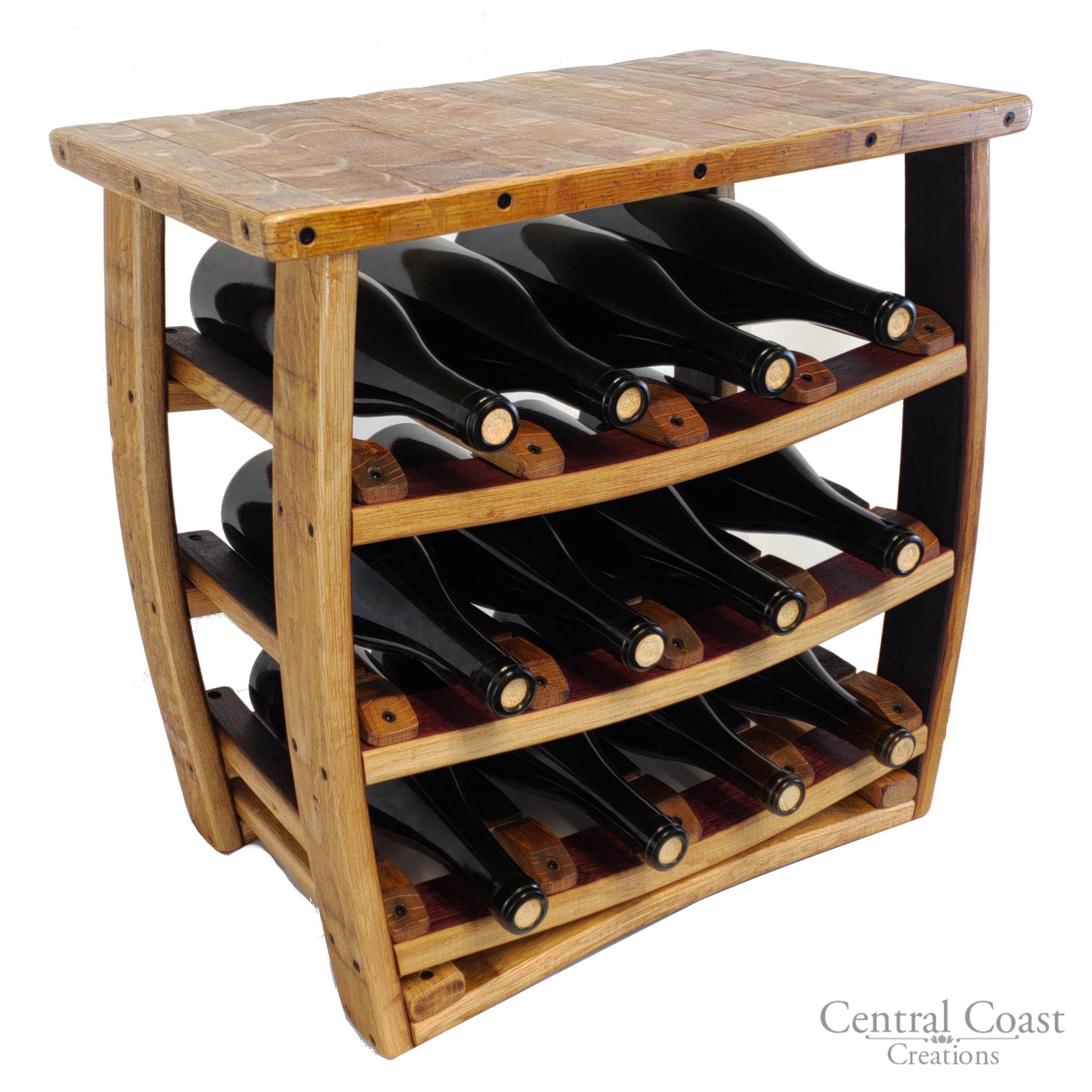 Table Top Wine Barrel Wine Rack Rustic Furniture 12 Bottle ...
