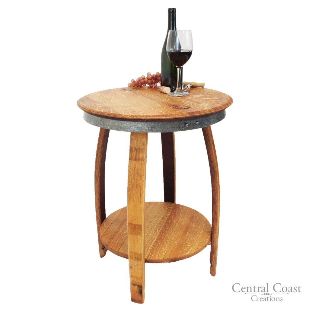 Barrel Table And Chairs For Sale: Isabella Wine Barrel Table With Bottom Shelve