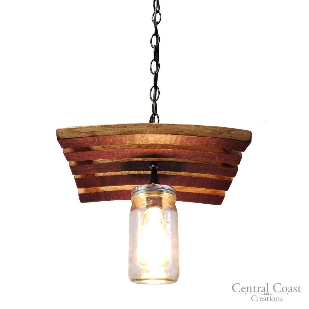 Wine Barrel Stave Amp Mason Jar Hanging Pendant Light
